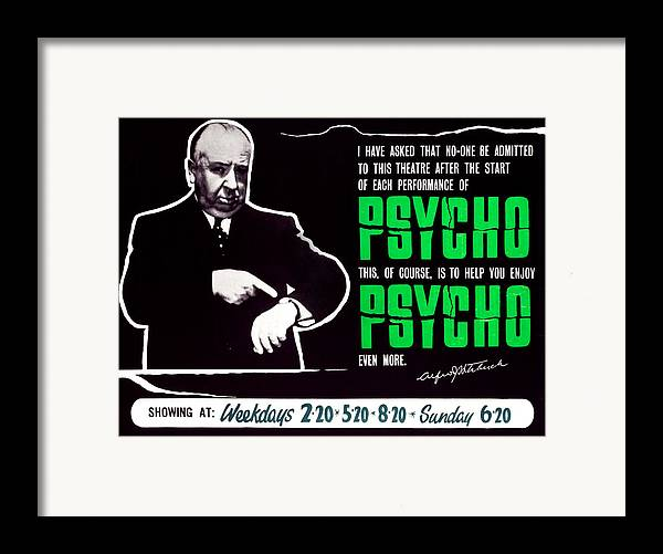 1960 Movies Framed Print featuring the photograph Psycho, Director Alfred Hitchcock by Everett