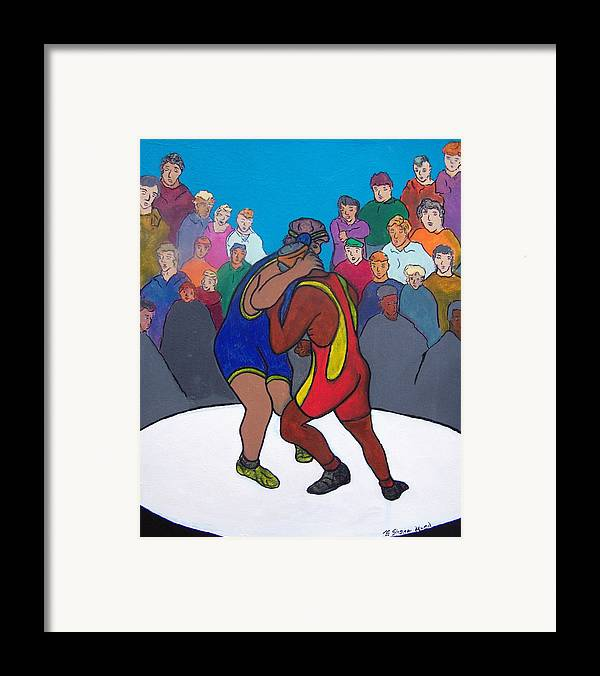 Figurative Framed Print featuring the painting Public Display Of Agression by Shane Hurd