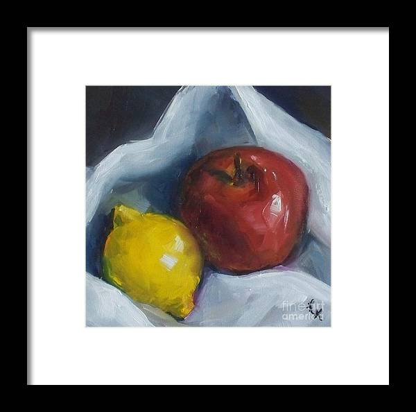 Apple Framed Print featuring the painting Pucker Up by Kristine Kainer