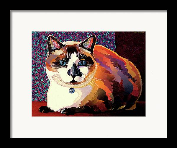 Cat Paintings Framed Print featuring the painting Puddin by Bob Coonts