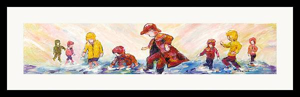 Mothers And Children Bonding Framed Print featuring the mixed media Puddle Jumpers by Naomi Gerrard