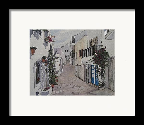 Spain Framed Print featuring the painting Pueblo by Victoria Heryet