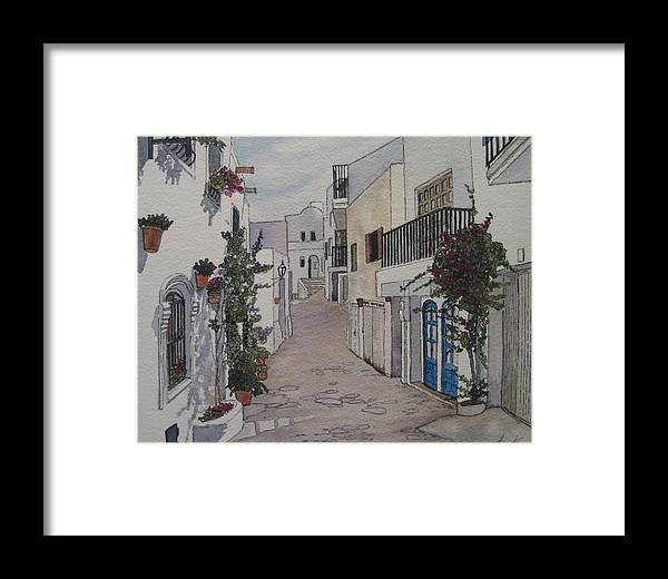 Spain Framed Print featuring the painting Pueblo by Victoria Heryet