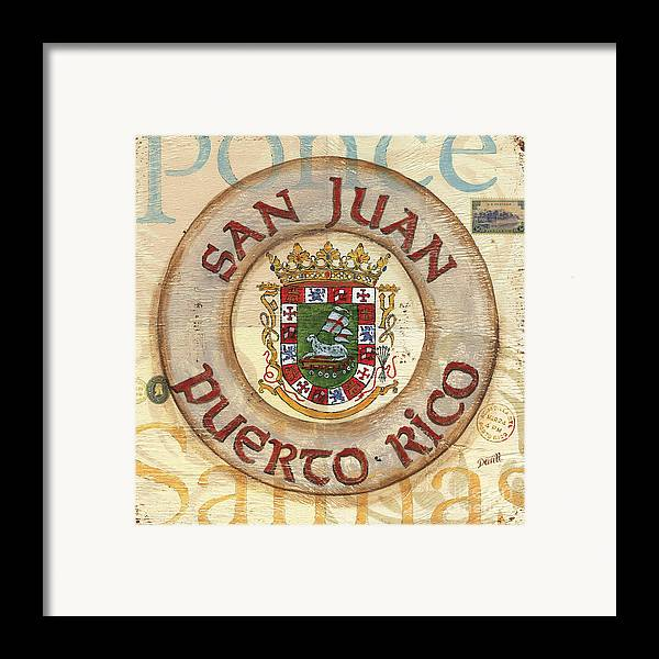 San Juan Framed Print featuring the painting Puerto Rico Coat Of Arms by Debbie DeWitt