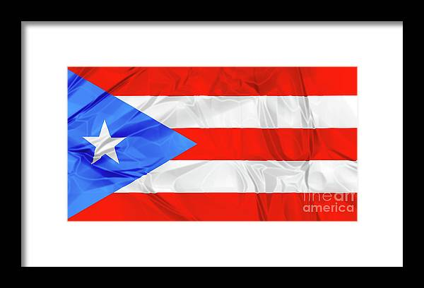 Texture Framed Print featuring the photograph Puerto Rico Flag by Benny Marty