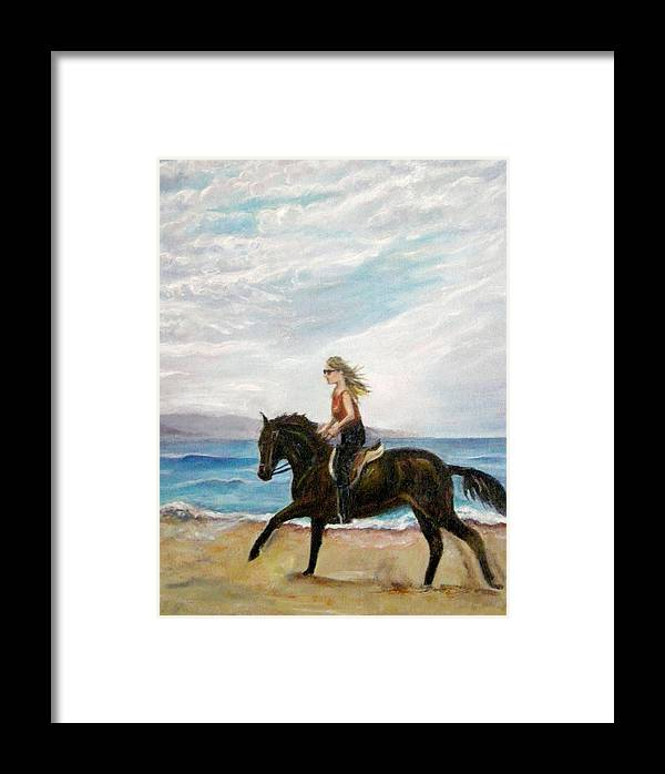Riding Framed Print featuring the painting Puerto Vallarta Beach Ride by Olga Kaczmar