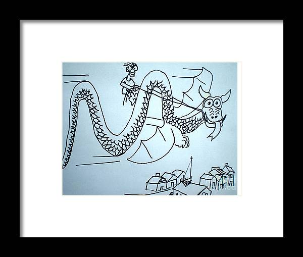 Boy Framed Print featuring the drawing Puff The Magic Dragon by Hal Newhouser