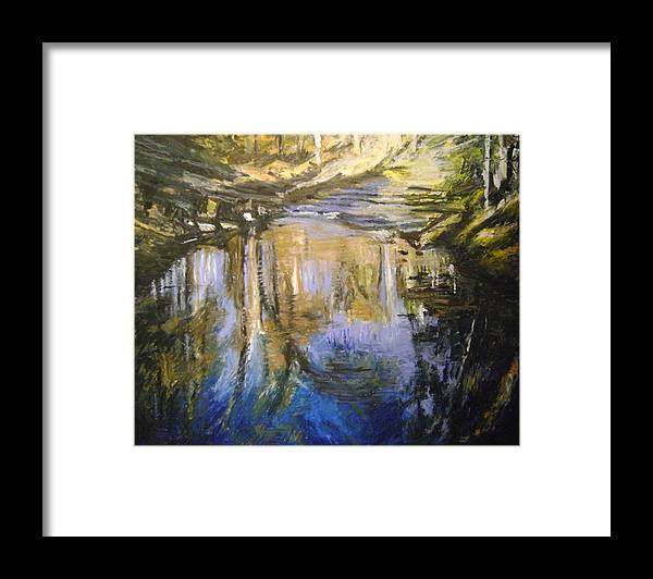 Puffers Pond Framed Print featuring the pastel Puffers Pond by Therese Legere