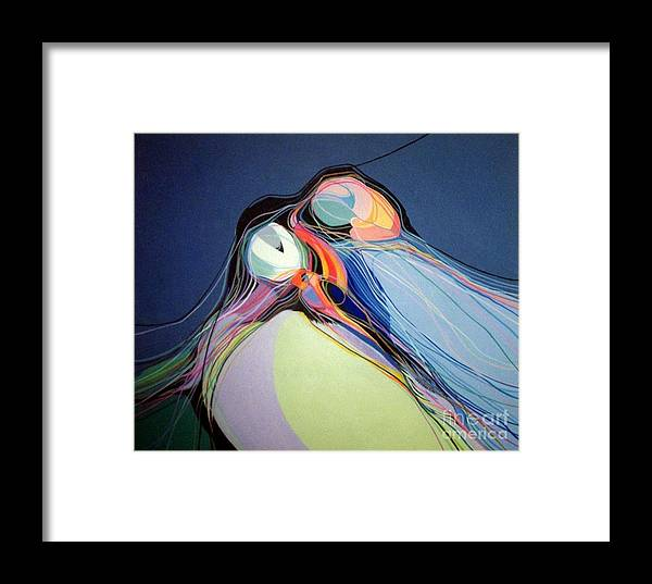 Puffins Framed Print featuring the painting Puffins by Marlene Burns