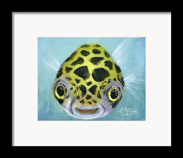 Green Spotted Puffer Fish Framed Print featuring the painting Puffy by Arleana Holtzmann