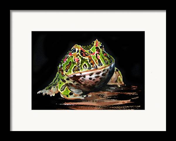 Bells Horned Frog Framed Print featuring the painting Puffy by Gina Hall