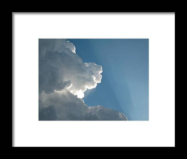 Clouds Framed Print featuring the photograph Puffy White Clouds by Liz Vernand
