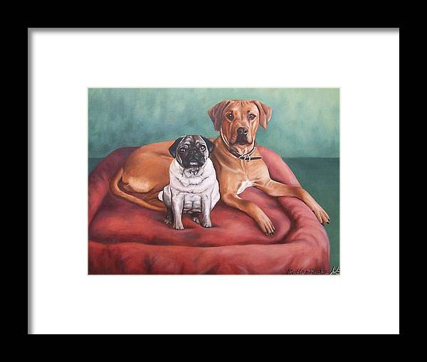 Dogs Framed Print featuring the painting Pug And Rhodesian Ridgeback by Nicole Zeug