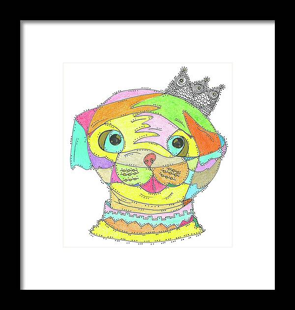 Pug Framed Print featuring the drawing Pug by Branislava Gajic