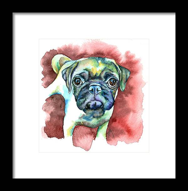 Pug Framed Print featuring the painting Pug In Red by Christy Freeman