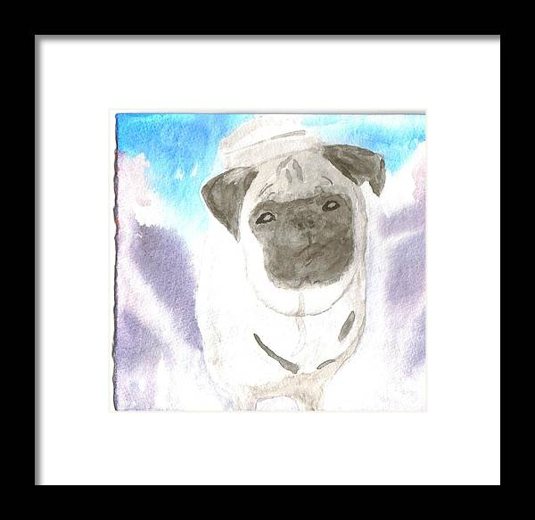 Pug Dog Watercolor Framed Print featuring the painting Pug by Warren Thompson