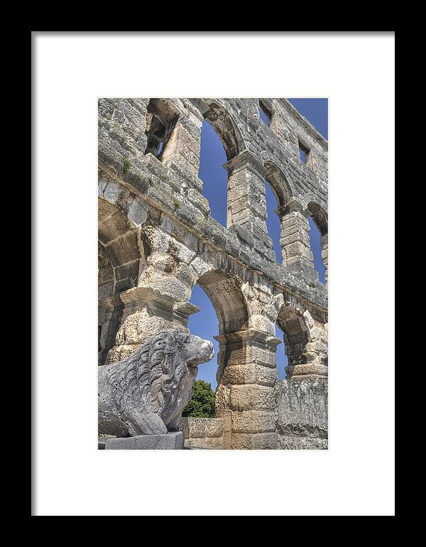 Amphitheater In Pula Framed Print featuring the photograph Pula Croatia by Don Wolf