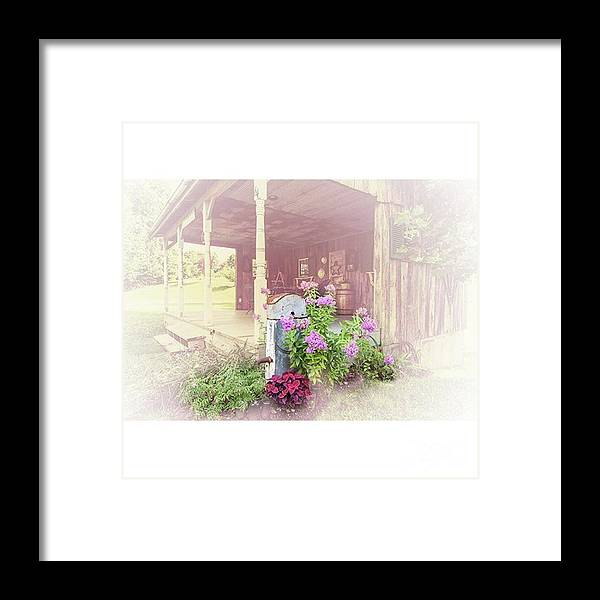 Ruralphotography Framed Print featuring the photograph Pump With Flowers brazeau by Larry Braun