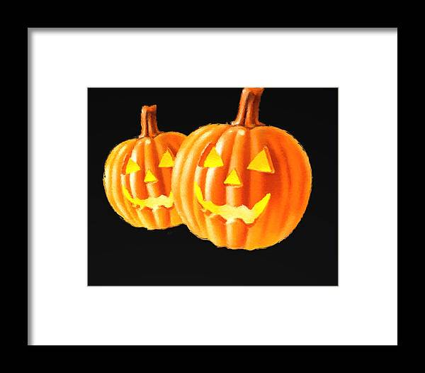 Framed Print featuring the painting Pumpkin Double by Ladonya Pearson