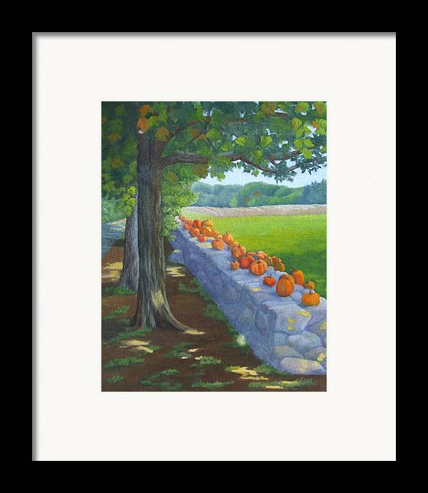 Pumpkins Framed Print featuring the painting Pumpkin Muster by Sharon E Allen