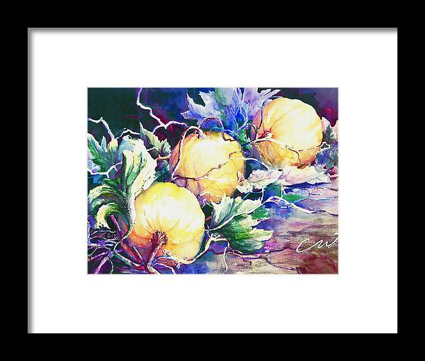 Pumpkins Framed Print featuring the painting Pumpkin Time by Connie Williams