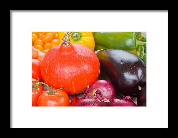 Vegetables Framed Print featuring the photograph Pumpkin With Vegetables by Anastasy Yarmolovich