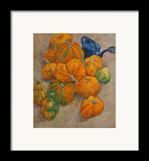 Still Life Framed Print featuring the painting Pumpkins And Watering Can by Vitali Komarov