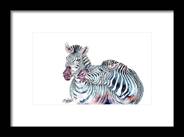 Zebra Framed Print featuring the painting Punda Milia Zebra by Stephie Butler