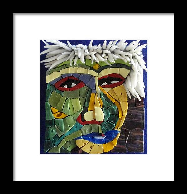 Mosaic Framed Print featuring the painting Punk - Fantasy Face No. 18 by Gila Rayberg