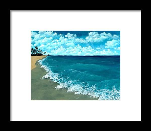 Blue Framed Print featuring the painting Punta Cana Beach by Anastasiya Malakhova