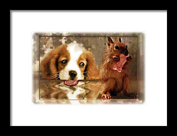 Puppy's Framed Print featuring the digital art Pup And Squirrel by John Breen