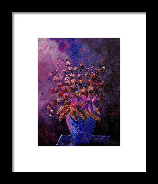 Flowers Framed Print featuring the painting Puple Bunch 450130 by Pol Ledent