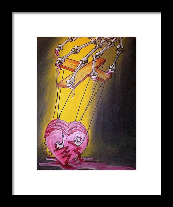 Heart Framed Print featuring the painting Puppeted Heart by Tammera Malicki-Wong