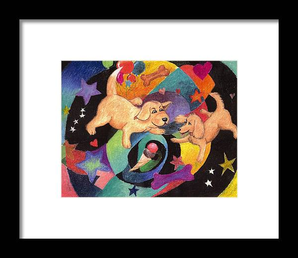 Puppy Framed Print featuring the pastel Puppy Dog Dream by Larry Whitler
