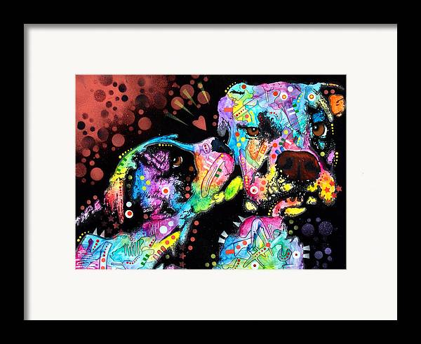 Dog Framed Print featuring the painting Puppy Love by Dean Russo