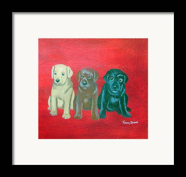 Labrador Framed Print featuring the painting Puppy Love by Tammy Brown