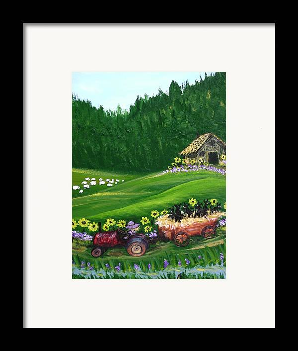 Pups Framed Print featuring the painting Pups First Hayride by Laura Johnson