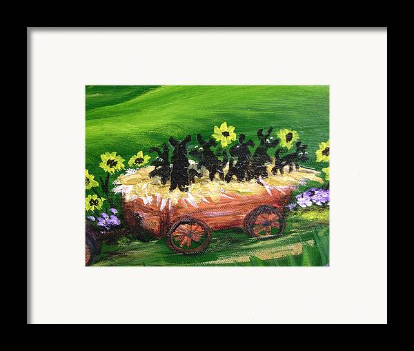 Pups Framed Print featuring the painting Pups First Hayride Upclose by Laura Johnson