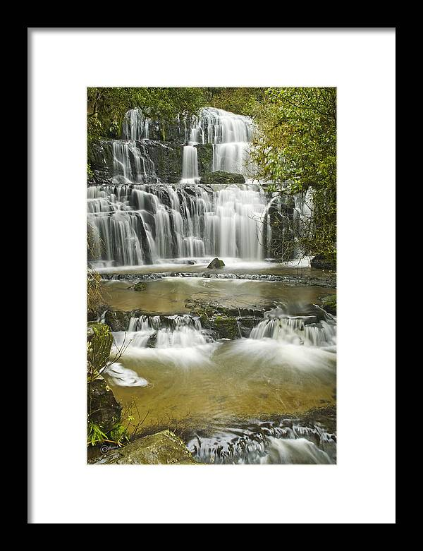 Water Framed Print featuring the photograph Purakanui Falls by Andrea Cadwallader
