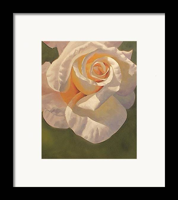White Framed Print featuring the painting Purity Rose by Marilyn Tower