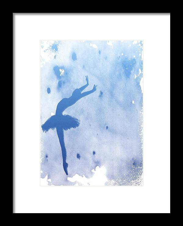 Ballerina Framed Print featuring the digital art Purple Ballerina Silhouette by Anna Michon
