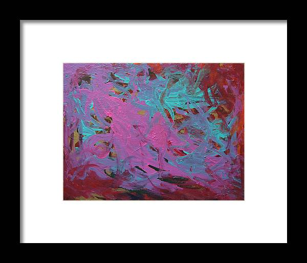 Abstract Framed Print featuring the painting Purple And Aqua by Kitty Hansen