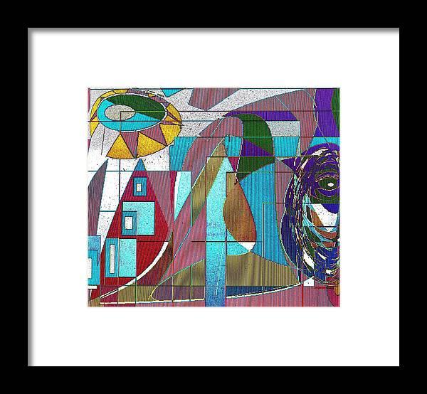 Purple Framed Print featuring the digital art Purple and Blue by Ian MacDonald