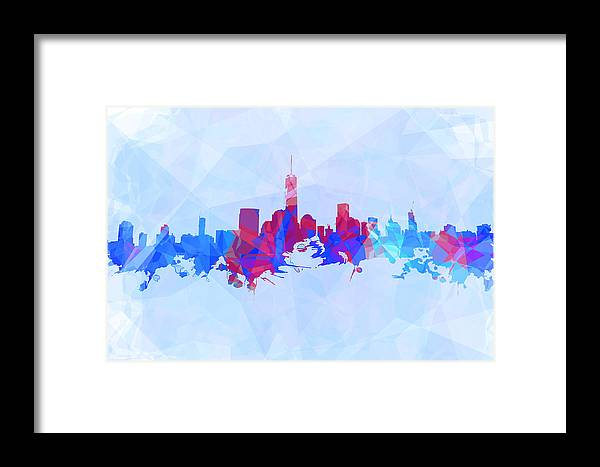 Purple And Blue New York Skyline Framed Print featuring the digital art Purple And Blue New York Skyline by Alex Antoine