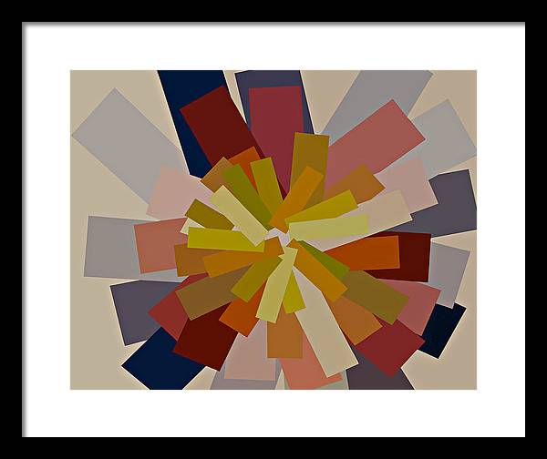 Modern Artwork Digitally Enhanced Canvas Prints Graphic Bright Colors Purple Gold Orange Brilliant Striking Modular Shapes Blue Hues Red Brown Framed Print featuring the painting Purple And Gold Graphic Blocks Of Color by Beverly Trivane