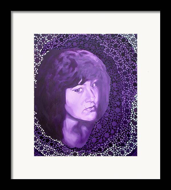 Portrait Framed Print featuring the painting Purple And Lace by Davinia Hart