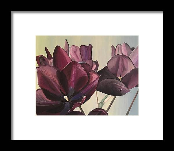 Purple Framed Print featuring the painting Purple Blooms Cmd1008 by Christine DuBay