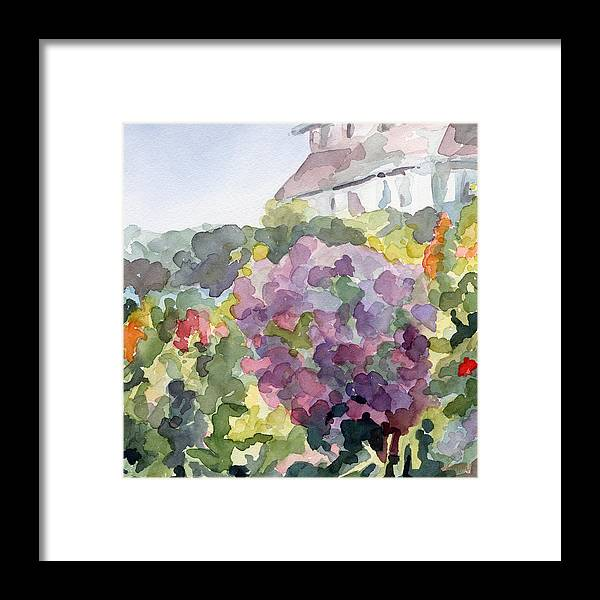 French Framed Print featuring the painting Purple Blossoms Monets Garden Watercolor Paintings of France by Beverly Brown Prints