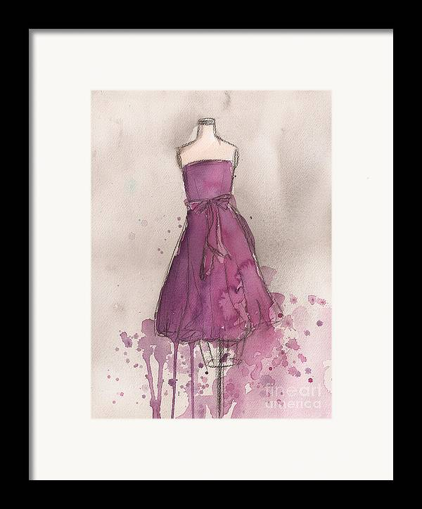 Purple Framed Print featuring the painting Purple Bow Dress by Lauren Maurer