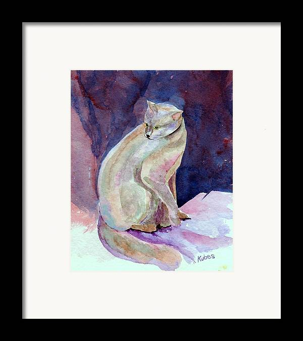 Cat Framed Print featuring the painting Purple Cat by Susan Kubes